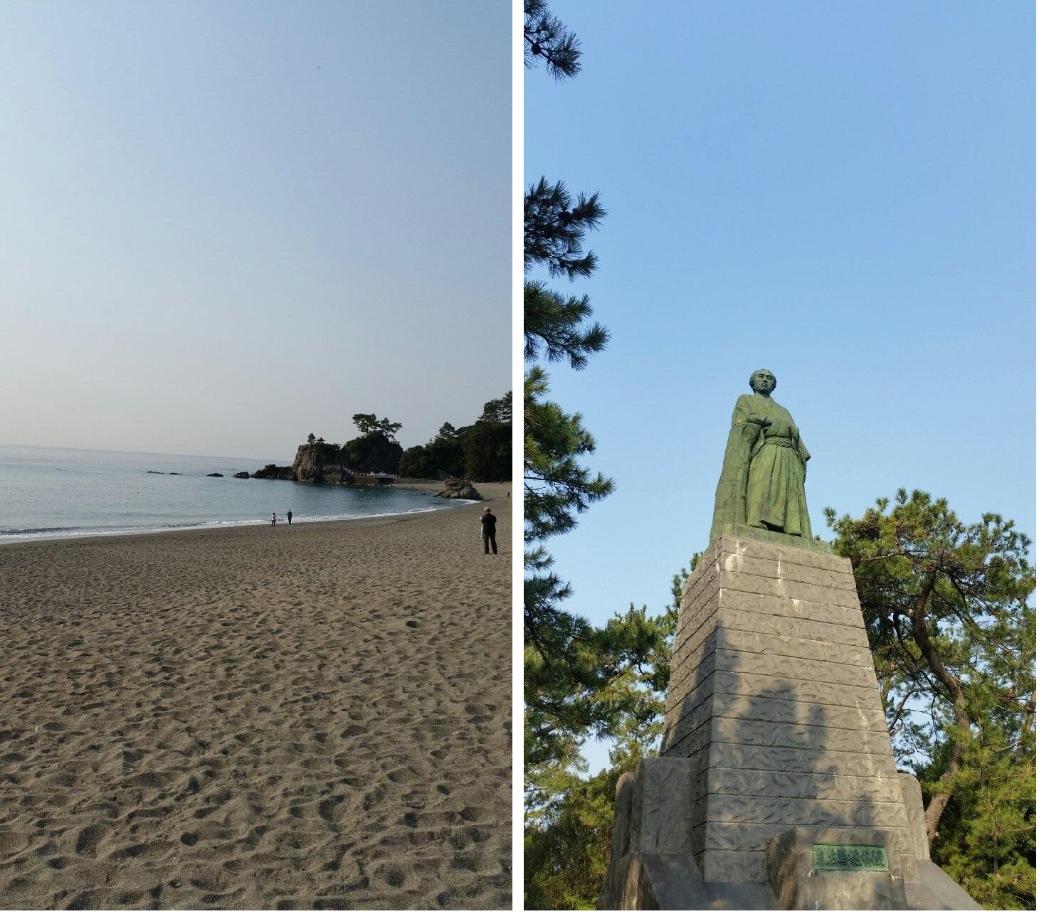 桂浜と龍馬像